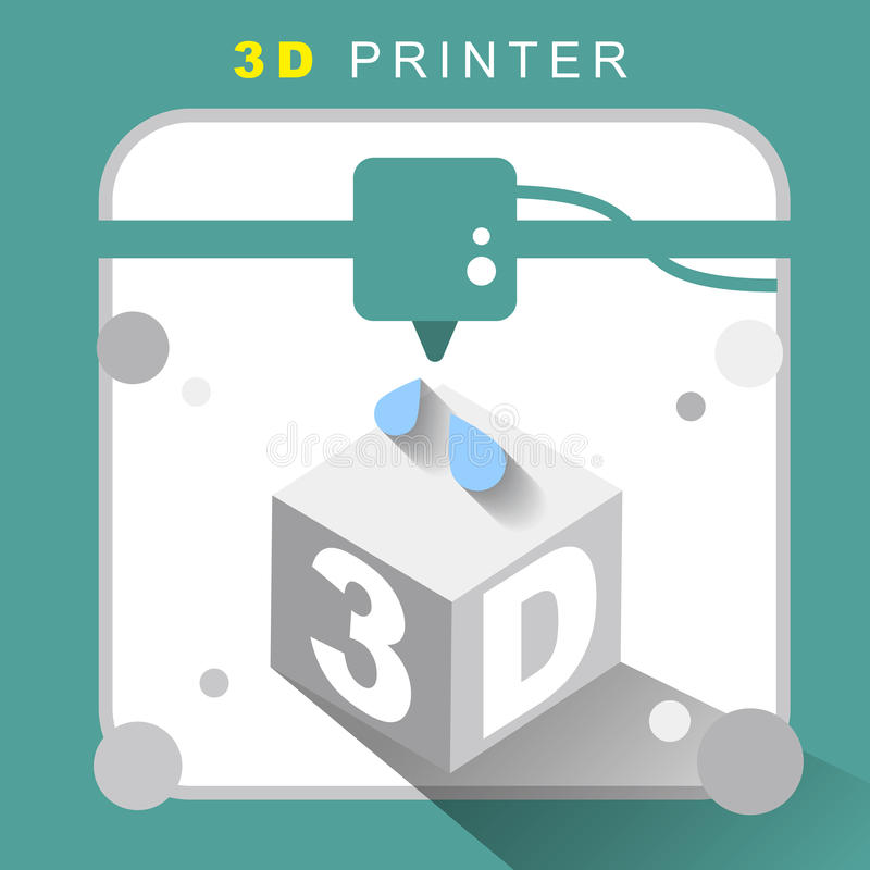3d Printer Icon With Flat Design Stock Vector Image