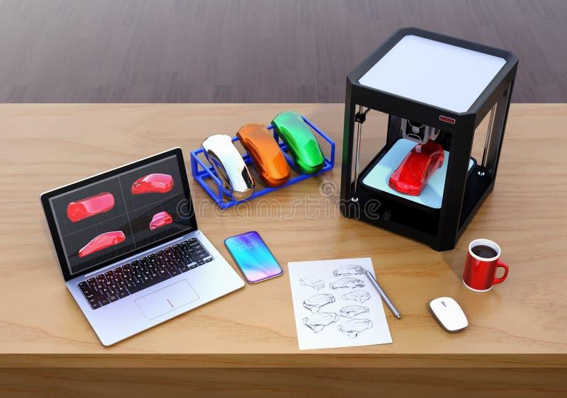 3D printer, laptop en productkleurensteekproeven stock illustratie