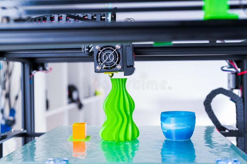 Modern 3D printing. 3d printer mechanism working yelement design of the device during the processes. 3d printer mechanism working yelement design of the device royalty free stock images