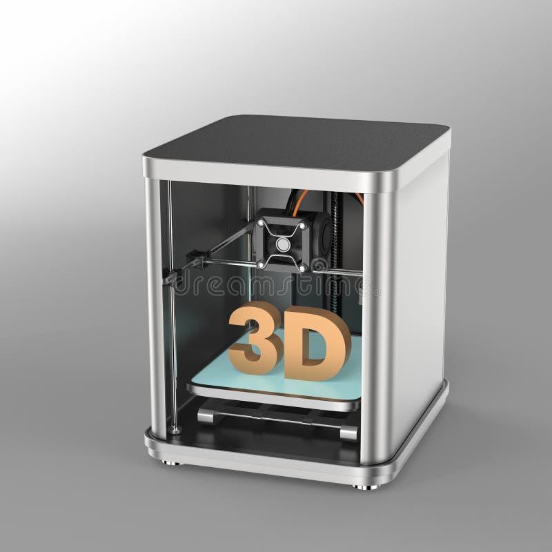3D printer op grijze achtergrond wordt geïsoleerd die stock illustratie