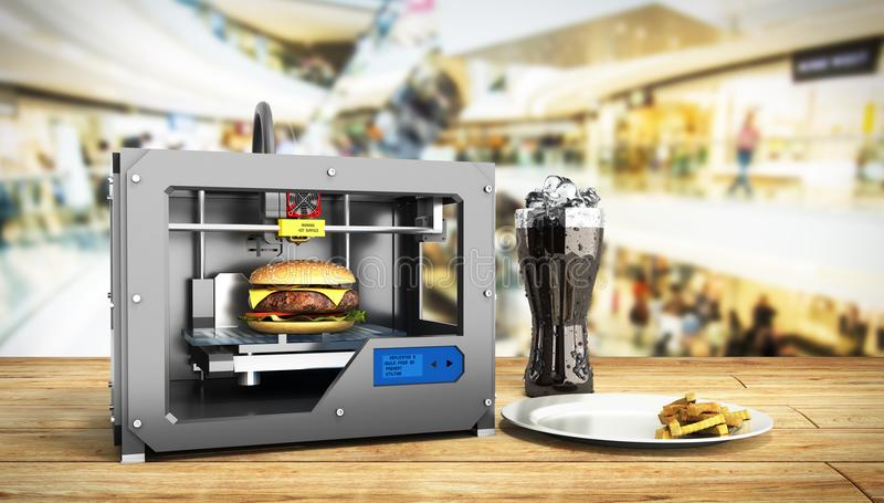 3D printer print burger 3d render Success food mace concept. 3D printer print burger 3d render Success food mace stock illustration