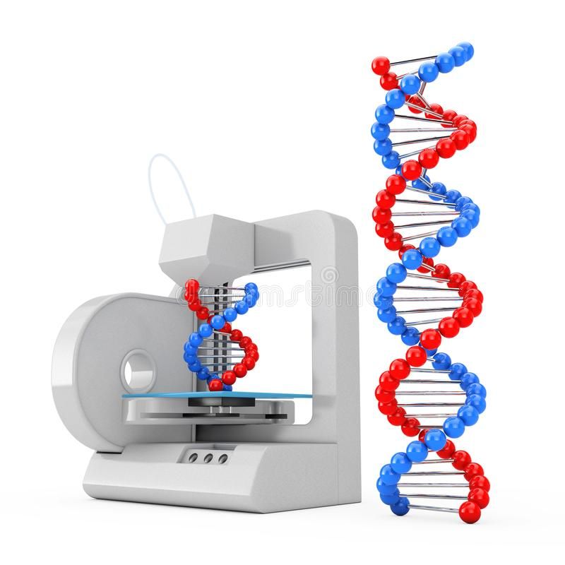 3d Printer Print the New DNA Molecules. 3d Rendering. 3d Printer Print the New DNA Molecules on a white background. 3d Rendering stock illustration