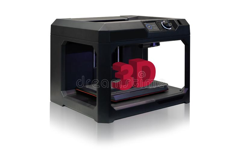 3d printer with a printed text `3D`. Isolated on white royalty free stock photo