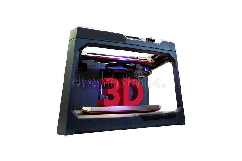 3d printer with a printed text `3D`. Isolated on white royalty free stock image