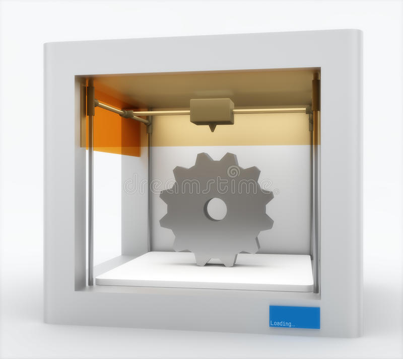 3d printer, printing gear vector illustration