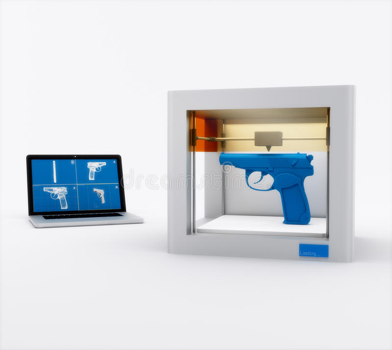 3d printer, printing gun stock illustration