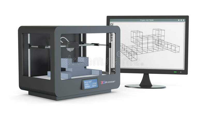 3d printer, from sketch to prototype. One 3d printer with a computer monitor with a cam software, and a prototype (3d render royalty free illustration