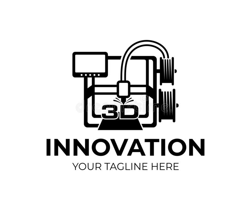 3D printer, technologie en innovatie, embleemontwerp Elektronische driedimensionele plastic printer, mechan productieautomatiseri royalty-vrije illustratie