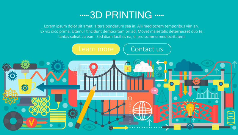 3d printer technology flat concept set. 3d modeling, printing and scanning web header. 3d printer technology flat concept set. 3d modeling, printing and vector illustration