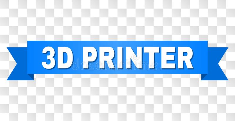 Blue Tape with 3D PRINTER Title. 3D PRINTER text on a ribbon. Designed with white caption and blue tape. Vector banner with 3D PRINTER tag on a transparent vector illustration