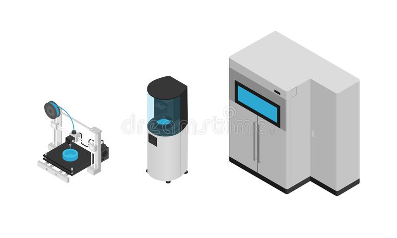 3D printer types in isometric style isolated on white background. 3D printers icons, vector illustrations. royalty free illustration