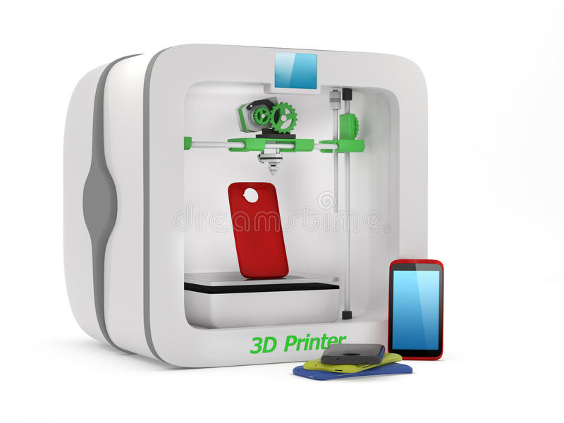 3D Printer. With used smartphone cover isolated on white background vector illustration