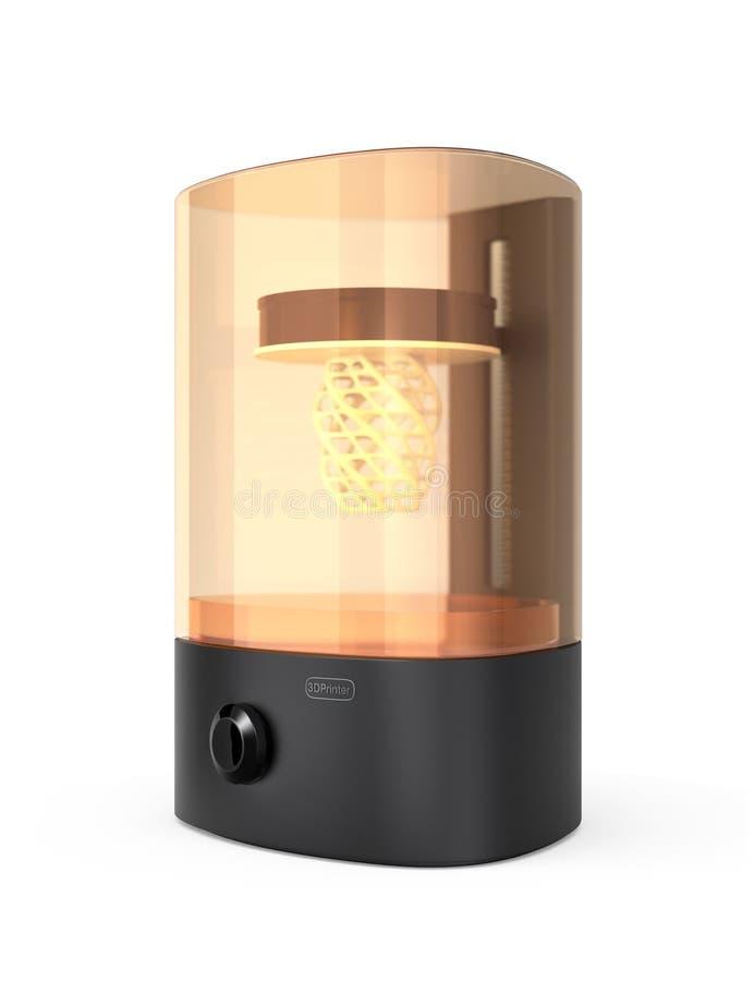 3D printer van SLA op witte achtergrond wordt geïsoleerd die vector illustratie