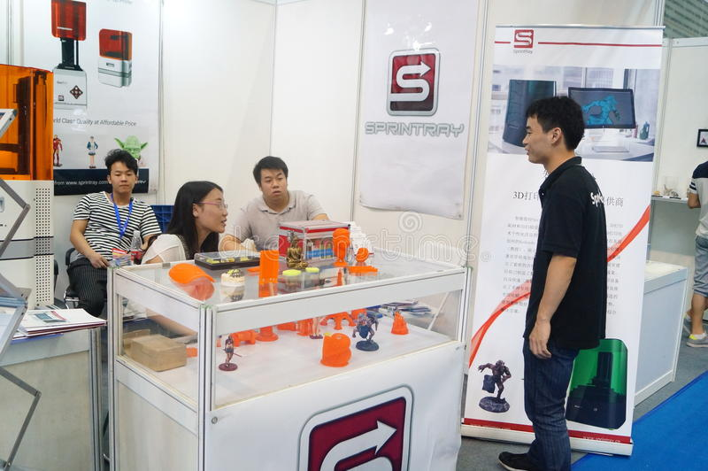 3D printing applications and facilities and Equipment Exhibition. Exhibition center in Shenzhen, the twentieth IIC-China Electronic Engineering event royalty free stock photography