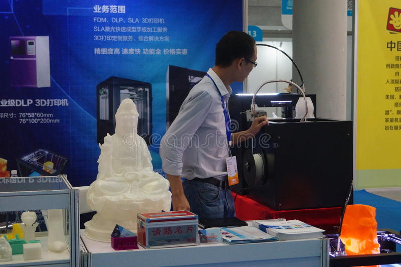 3D printing applications and facilities and Equipment Exhibition. Exhibition center in Shenzhen, the twentieth IIC-China Electronic Engineering event royalty free stock image