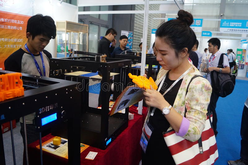 3D printing applications and facilities and Equipment Exhibition. Exhibition center in Shenzhen, the twentieth IIC-China Electronic Engineering event stock image