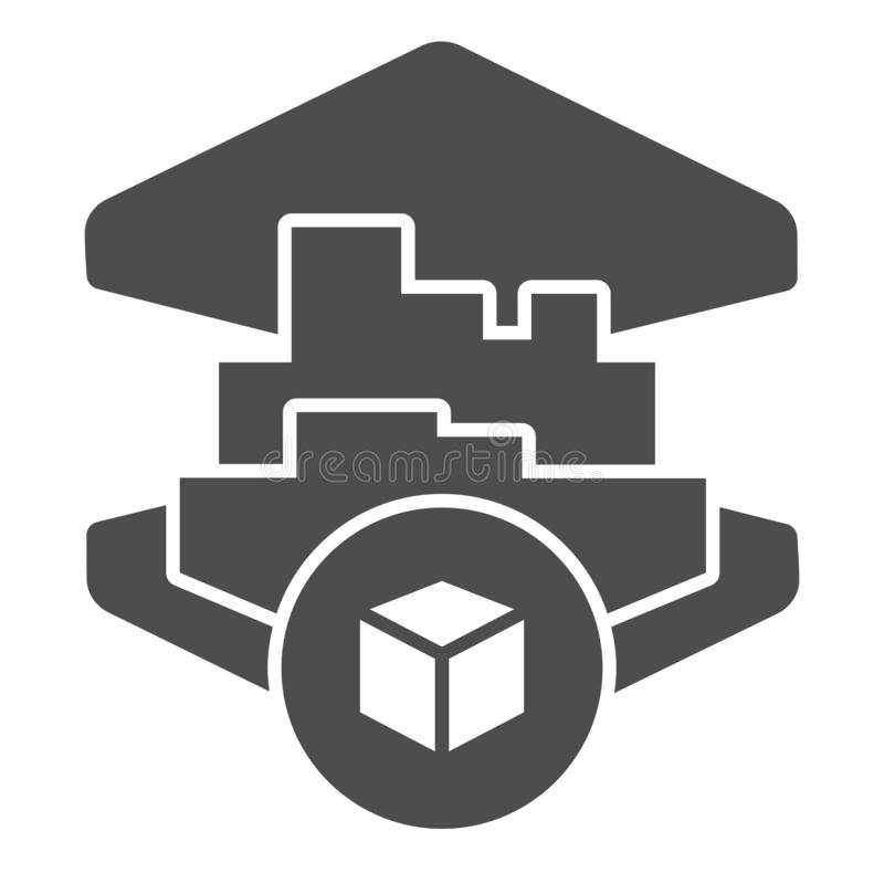 3D printing building solid icon. 3d house printing vector illustration isolated on white. 3d architecture print glyph royalty free illustration