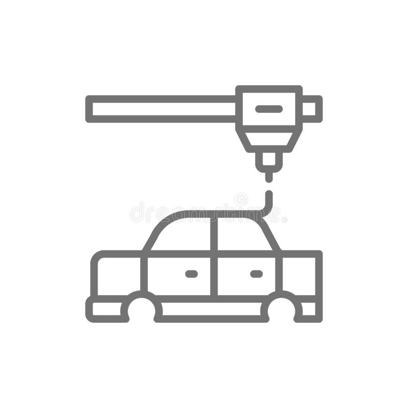 3d printing a car parts, industrial printer line icon. vector illustration