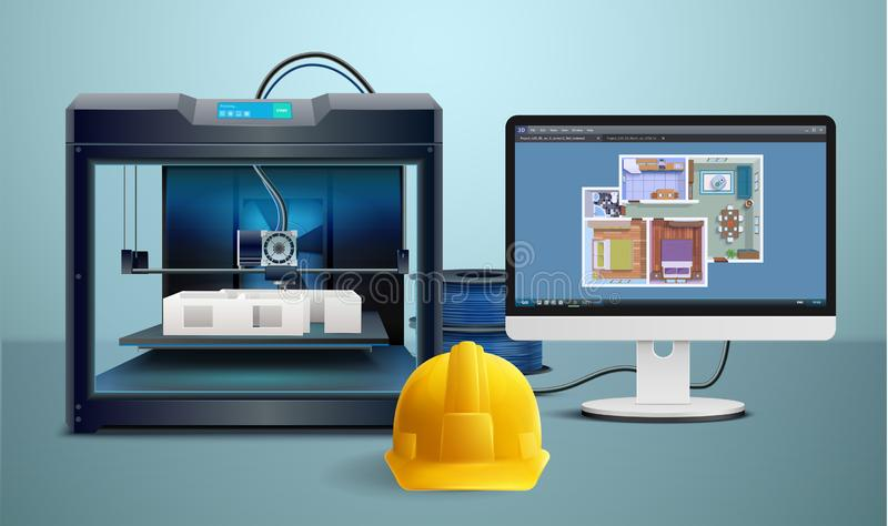 3d Printing Composition stock illustration