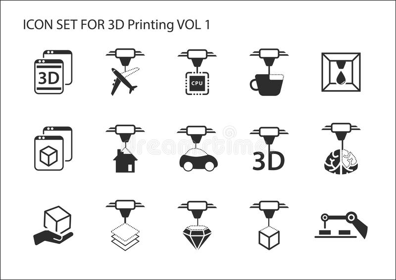3D Printing concept icon set with various symbols.  stock illustration