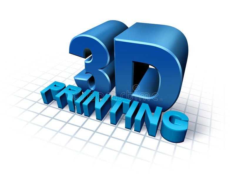 3D Printing. Concept with three dimensional text as a symbol of new print technology duplicating objects for product or prototype development,using industrial