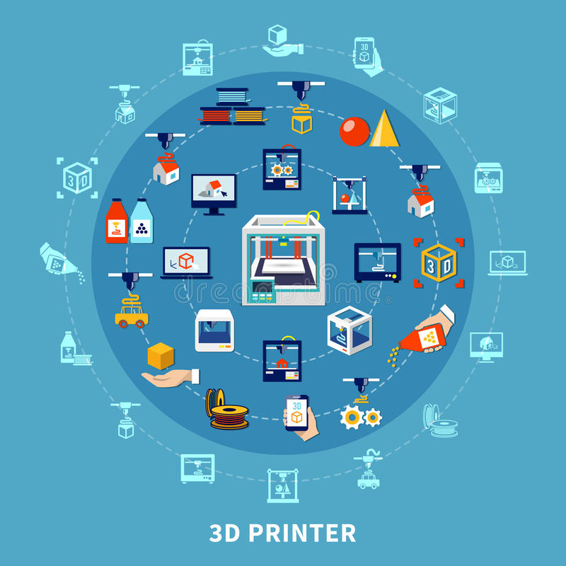 3d Printing Design Composition royalty free illustration