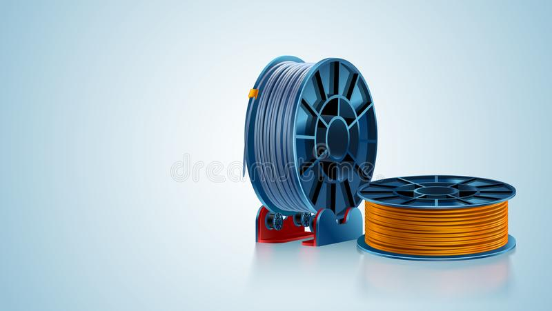 3d printing filament spool or coil on holder on white background. Colored plastic material for 3d printer. Silver and stock illustration