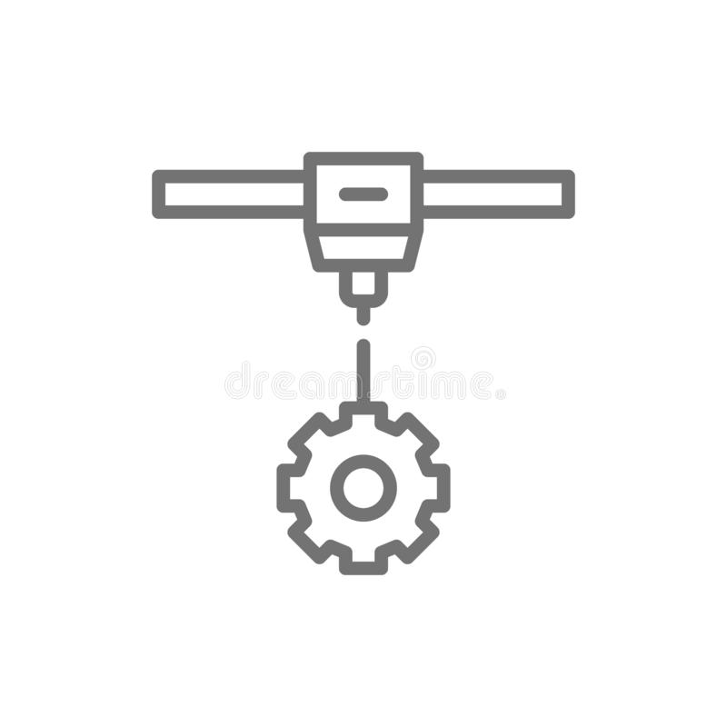 3d printing a gear wheels, industrial printer line icon. stock illustration