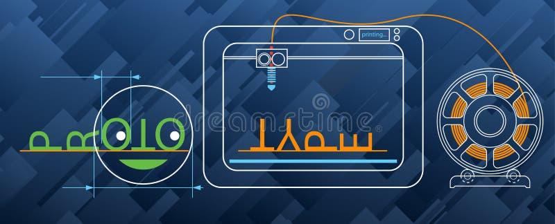 3d printing, glödtråd som modellerar, prototyp, teknik, bakgrund för industriell design vektor illustrationer