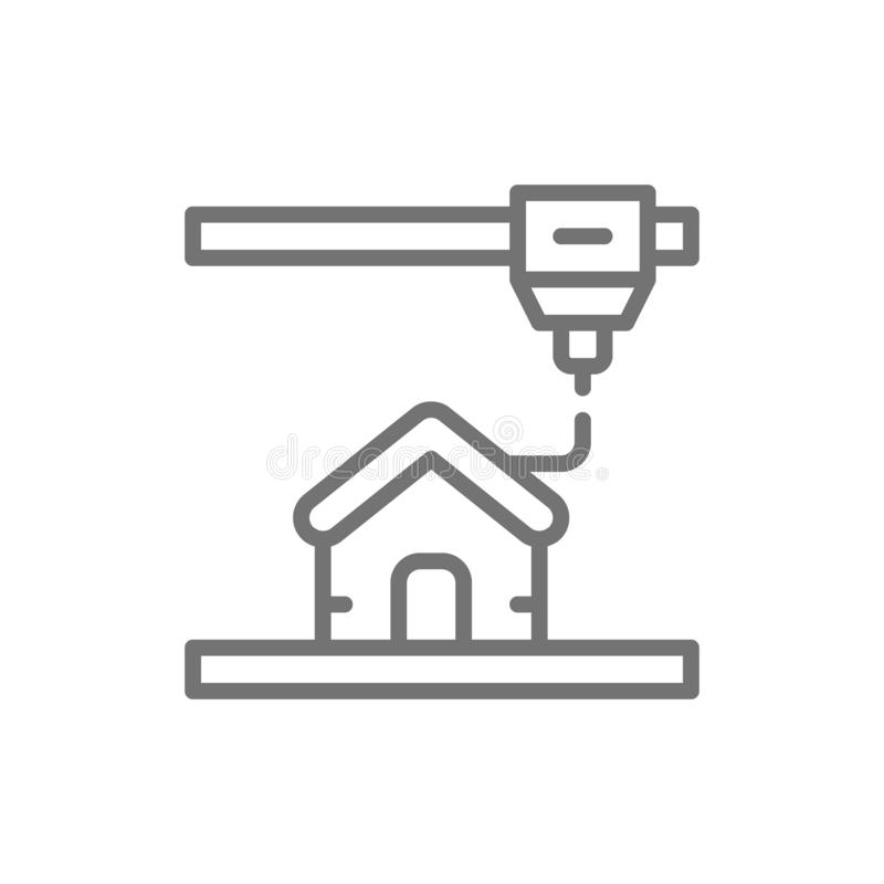3d printing a house, industrial printer line icon. vector illustration