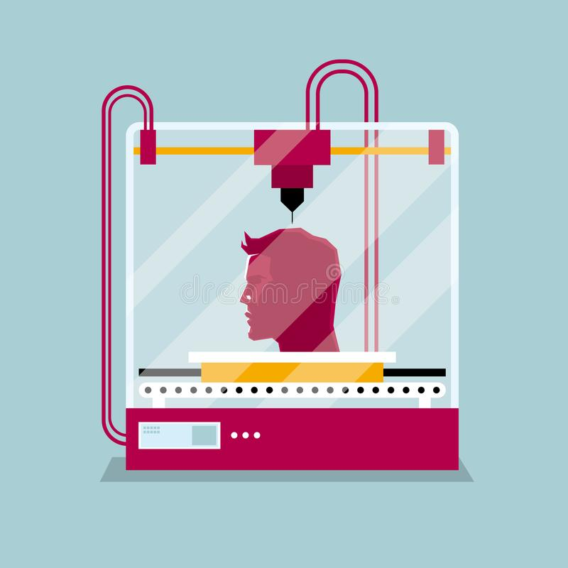 3D printing a human head,the concept of molding a shape. royalty free illustration