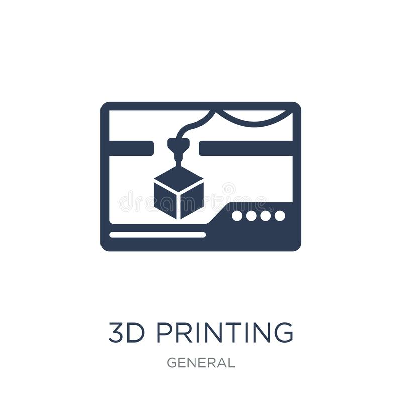 3d printing icon. Trendy flat vector 3d printing icon on white b. Ackground from general collection, vector illustration can be use for web and mobile, eps10 stock illustration