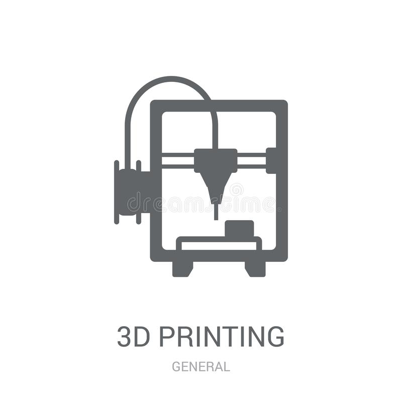 3d printing icon. Trendy 3d printing logo concept on white background from General collection. Suitable for use on web apps, mobile apps and print media royalty free illustration