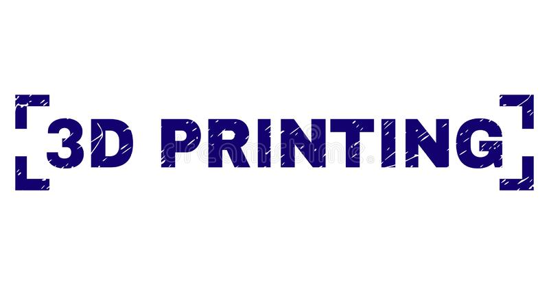 Scratched Textured 3D PRINTING Stamp Seal Inside Corners. 3D PRINTING label seal print with distress texture. Text label is placed between corners. Blue vector stock illustration