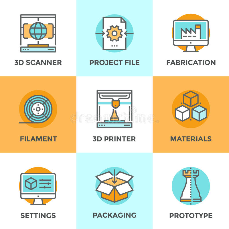 3D Printing line icons set royalty free illustration