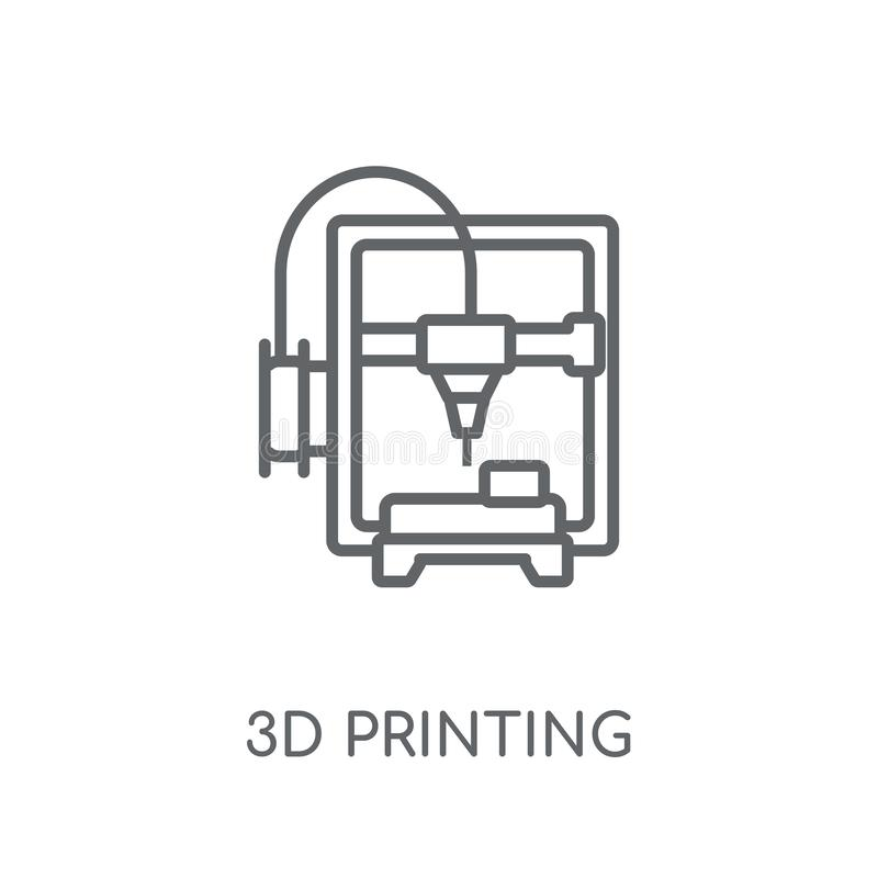 3d printing linear icon. Modern outline 3d printing logo concept. On white background from General collection. Suitable for use on web apps, mobile apps and stock illustration