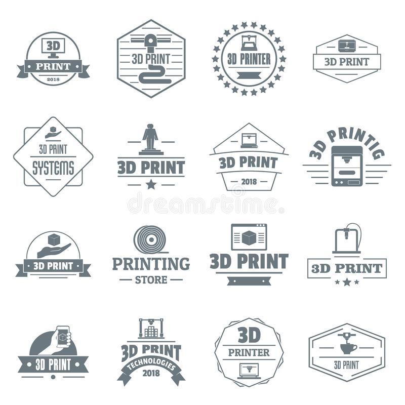 3d printing logo icons set, simple style royalty free illustration