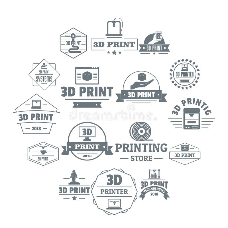 3d printing logo icons set, simple style. 3d printing logo icons set. Simple illustration of 16 3d printing logo vector icons for web royalty free illustration