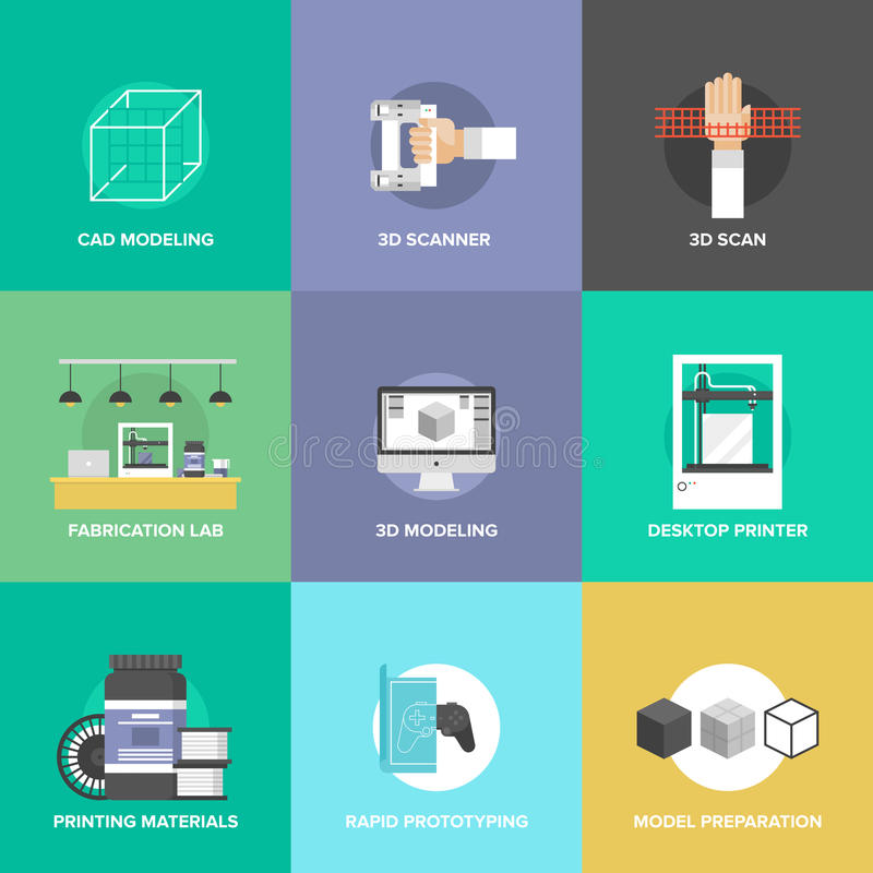 3D printing and modeling flat icons set vector illustration