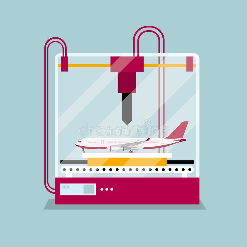 3D printing a passenger aircraft model, the concept of rapid prototyping. Background is blue stock illustration
