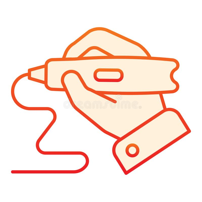 3d printing pen in hand flat icon. Hand holding 3d pen orange icons in trendy flat style. 3d drawing tool gradient style. Design, designed for web and app. Eps vector illustration