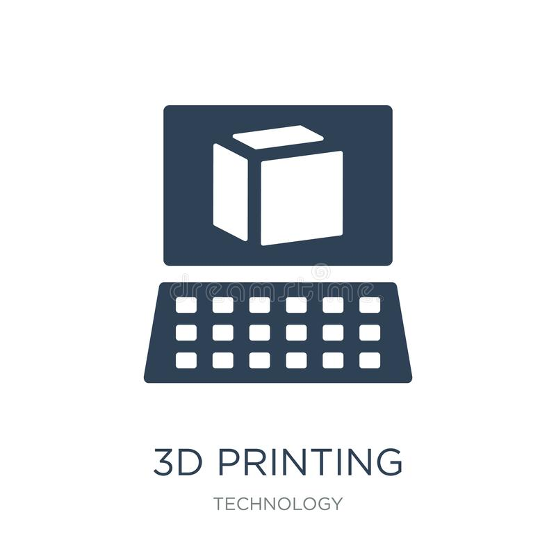 3d printing software icon in trendy design style. 3d printing software icon isolated on white background. 3d printing software stock illustration
