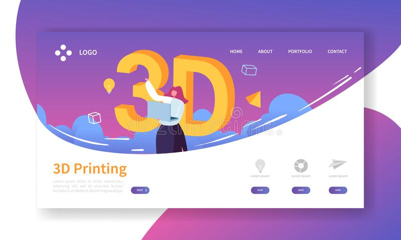 3D Printing Technology Landing Page. 3D Printer Equipment with Flat People Characters Website Template. Engineering royalty free illustration
