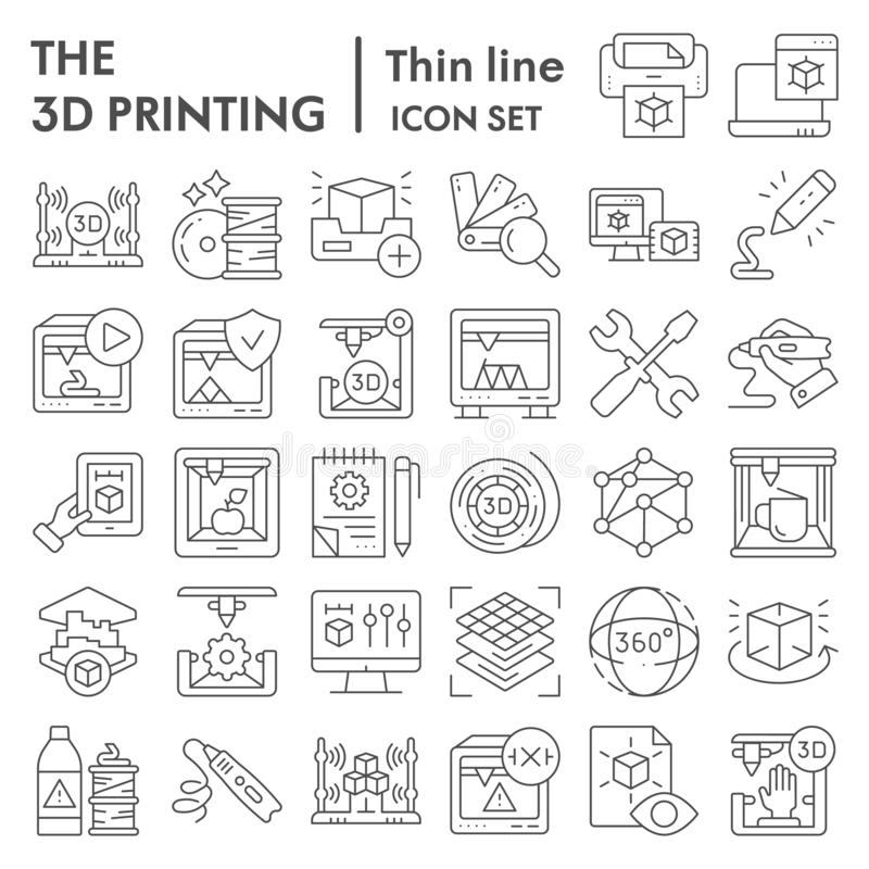3D printing thin line icon set, 3d print industry symbols collection, vector sketches, logo illustrations, future vector illustration