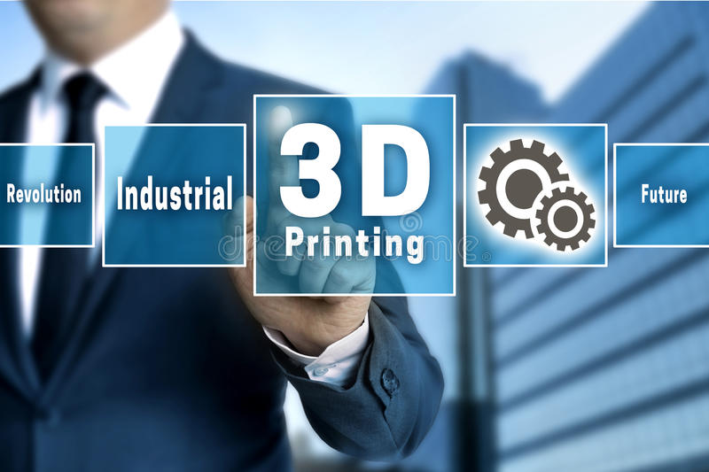 3d Printing touchscreen is operated by businessman.  royalty free stock images