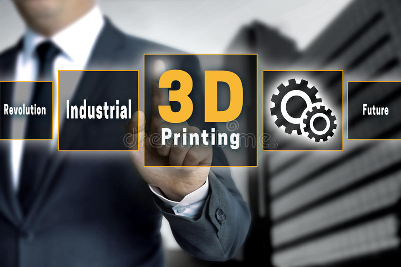 3d Printing touchscreen is operated by businessman.  royalty free stock photo