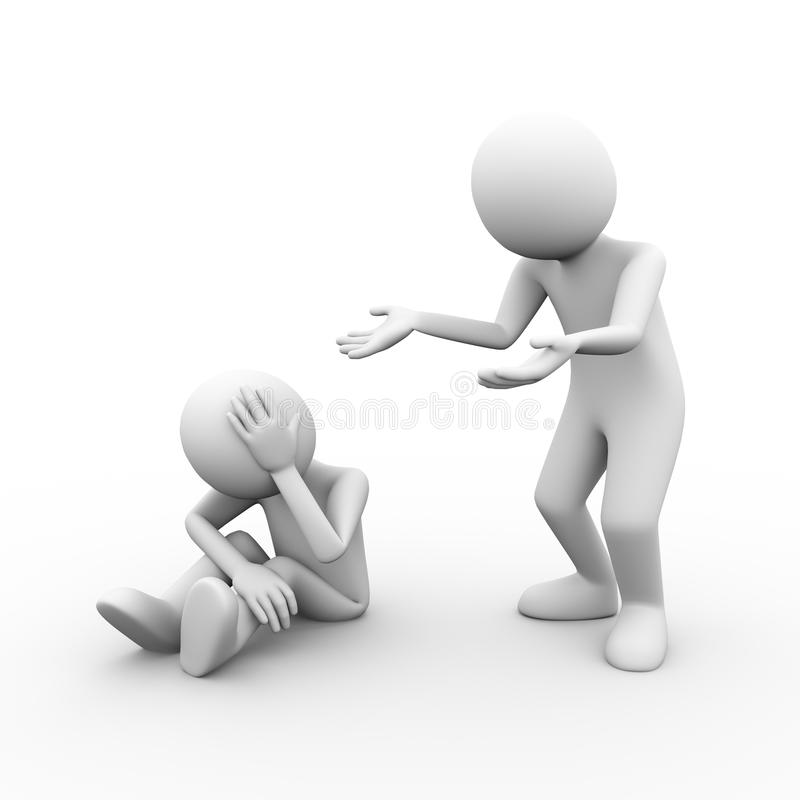 3d problems disagree dispute. 3d illustration of conflict problems dispute between people . 3d human man person character and white people stock illustration