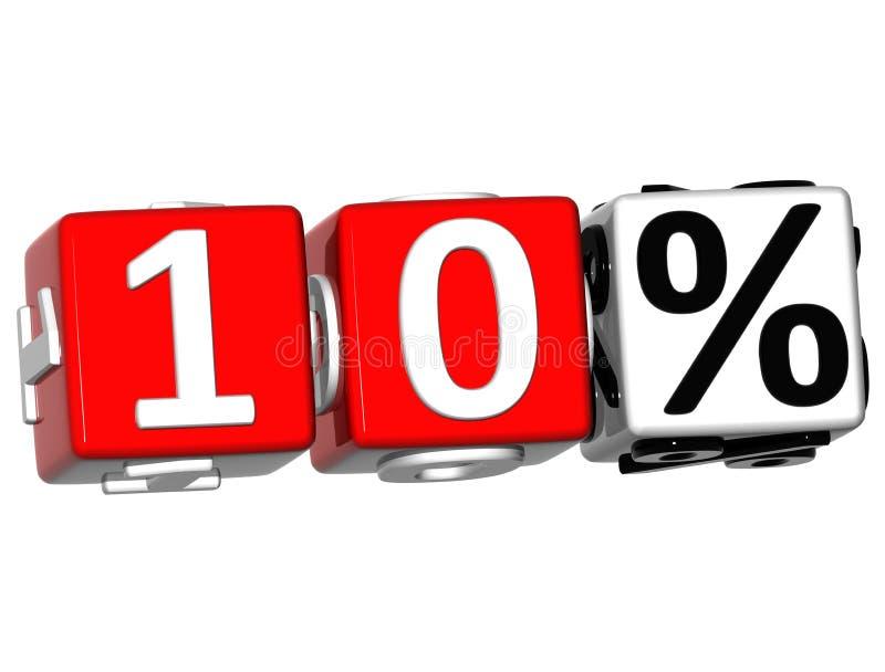 3D 10 procentów guzik Klika Tutaj Blokowego tekst royalty ilustracja