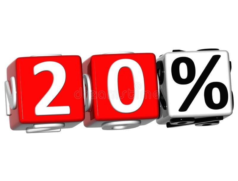 3D 20 procentów guzik Klika Tutaj Blokowego tekst ilustracja wektor
