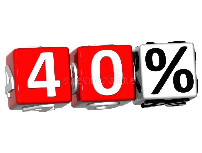 3D 40 procentów guzik Klika Tutaj Blokowego tekst ilustracja wektor